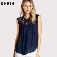 SHEIN Elegant Women Blouses Keyhole Back Daisy Lace Shoulder Shell Top Navy Sleeveless Contrast Lace Asymmetrical