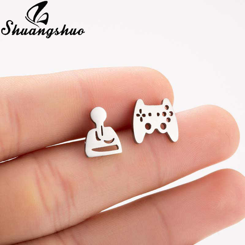 Shuangshuo Staianless สตั๊ดต่างหูผู้หญิงต่างหู Gamer Controller Ear Studs เครื่องประดับ pendientes moda mujer 2019