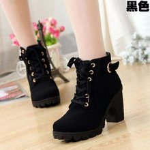 Women's booties 2019 new autumn and winter fashion high-heeled thick with women's short boots round head women's booties(China)