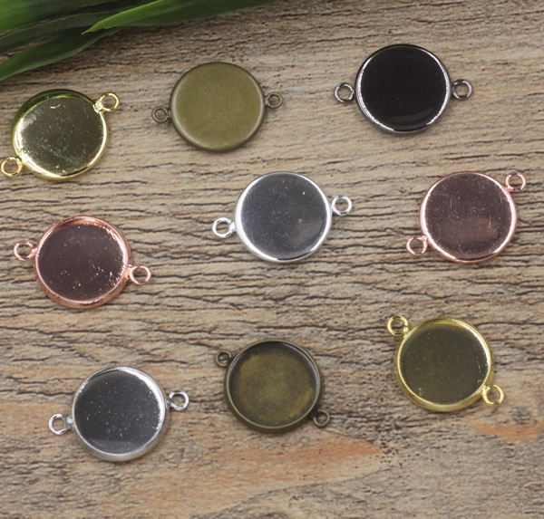 Copper plated in 6 color Inner Round pendants Base Copper 6 Colors Plated Charm Blanks Setting DIY Cameo For Jewelry Making
