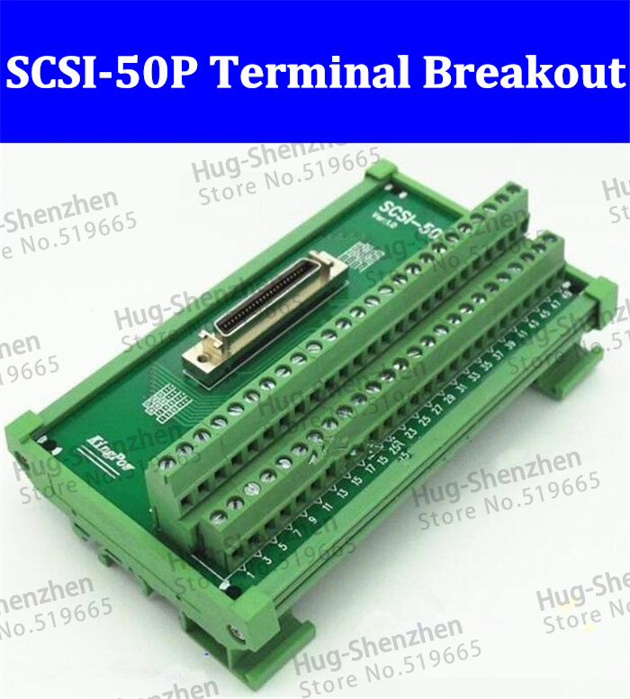 High quality SCSI 50P 50 Pin CN slot 180 degree acquisition card Terminal Block Breakout Board Adapter DIN Rail Mounting 1pcs