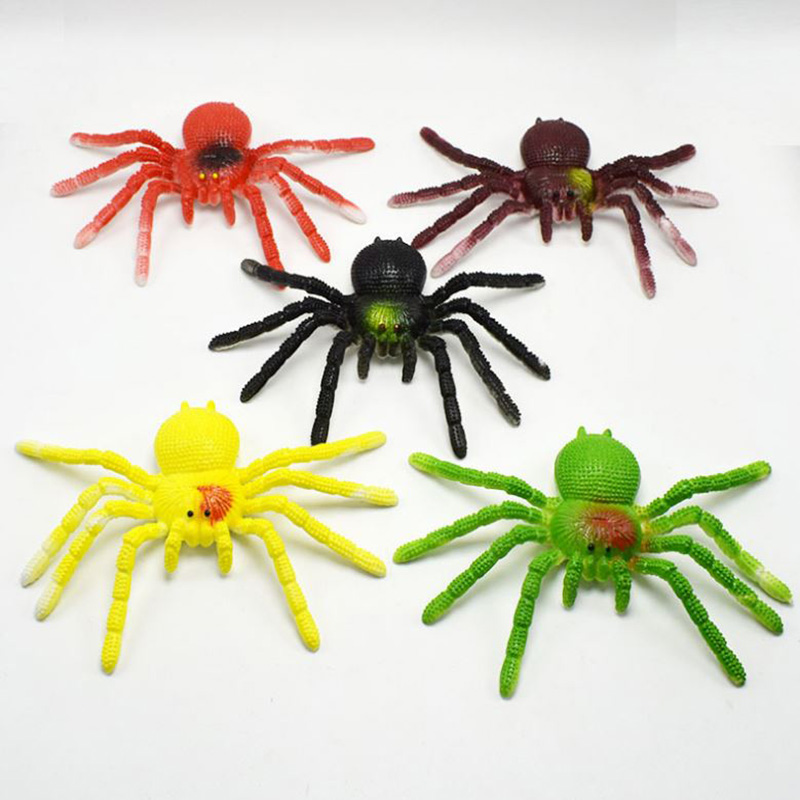 1 Pc Hot sale Halloween Novelty Gag Toy  TPR Simulation Spider Shaped Kids Children Toy