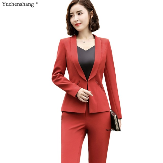 4ea687aa267 New fashion women sexy pant suits office ladies plus size work wear two  pieces set long sleeve blazer and trousers business suit