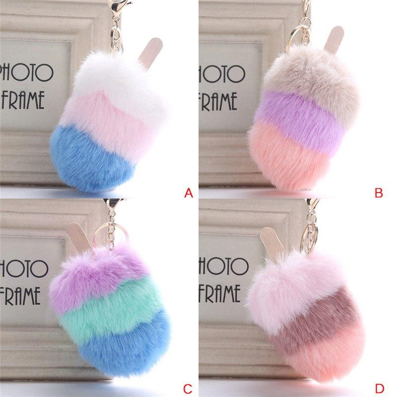 4 Colors Fashion Ice Cream Fur Fluffy Fur Pompom Car Bag Pendant For Women4 Colors Fashion Ice Cream Fur Fluffy Fur Pompom Car Bag Pendant For Women