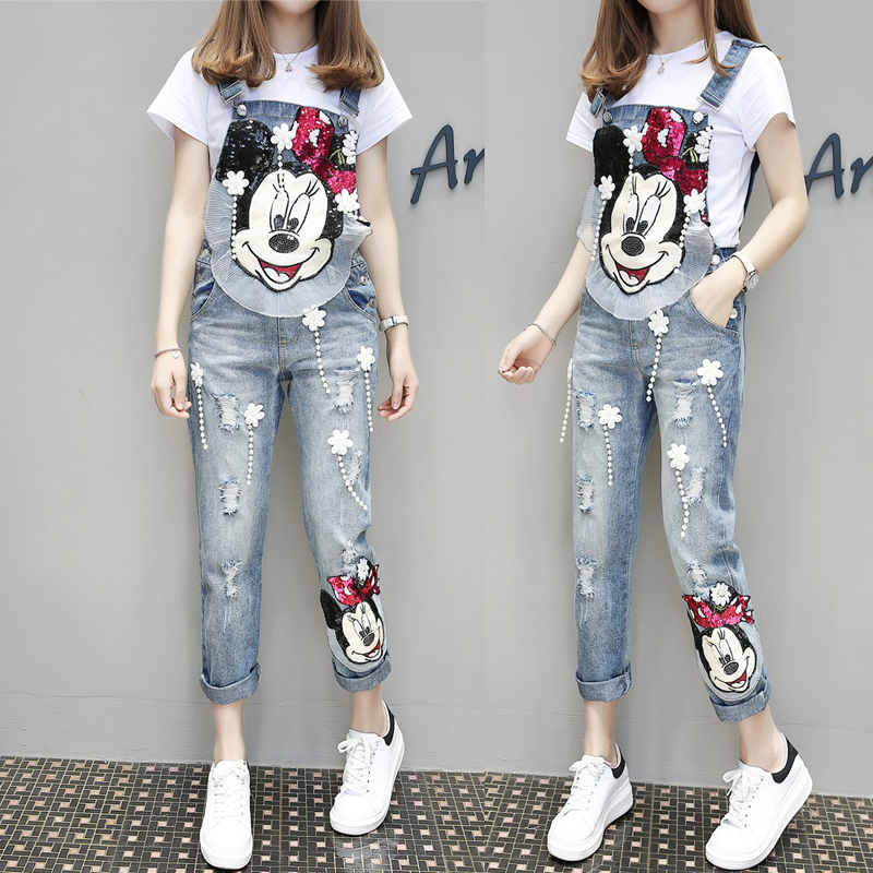 MUMUZI 2019 Spring Women Clothing Cute Mouse Cartoon Print Denim Jeans Flower Pearl Patches Ripped Female Jumpsuits Rompers
