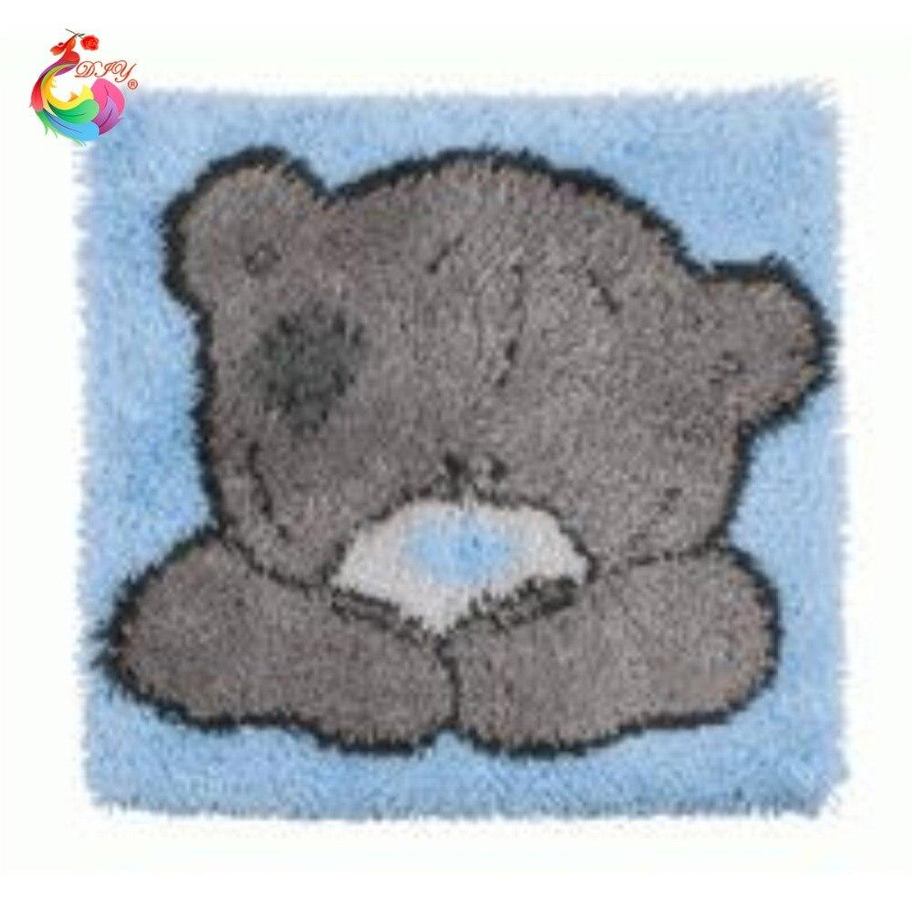 HEIßER Rasthaken Kissen Kits Geschenk DIY Hand Häkeln Dekokissen Unfinished Garn Stickerei Kissenbezug Grau nette bär