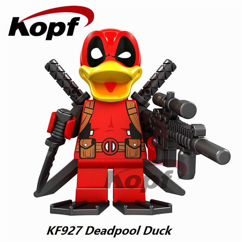 Single Sale Deadpool Duck She-Deadpool Punisher Magic Teacher Rick Morty Building Blocks Super Heroes Bricks Children Toys KF927 single sale super heroes red yellow deadpool duck the bride terminator indiana jones building blocks children gift toys kf928