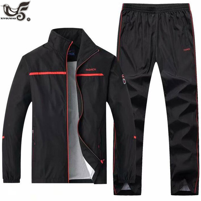 Men's Casual Tracksuit Long Sleeve Full-Zip Running Jogging Sporting Jacket And Pants Sets Outwear Sportswear Track Suit Men