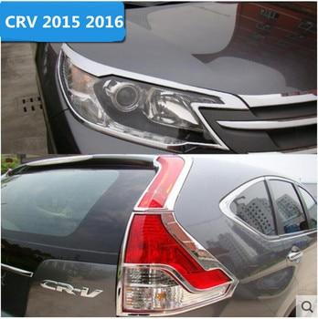 1b42d82af52a Coche ABS faro delantero cromado + cubierta trasera de luz para 15 16 HONDA  CRV CR-V 2015 2016 envío gratis