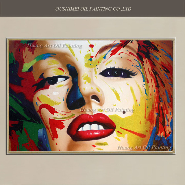 Hand Painted Modern Marilyn Monroe Oil Painting Colorful Portrait Famous Characters On Canvas For Room
