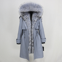 Winter Jacket Women Waterproof Parka 2019 Real Fur Coat Natural Raccoon Fur Collar Real Rex Rabbit Fur Liner Detachable brand