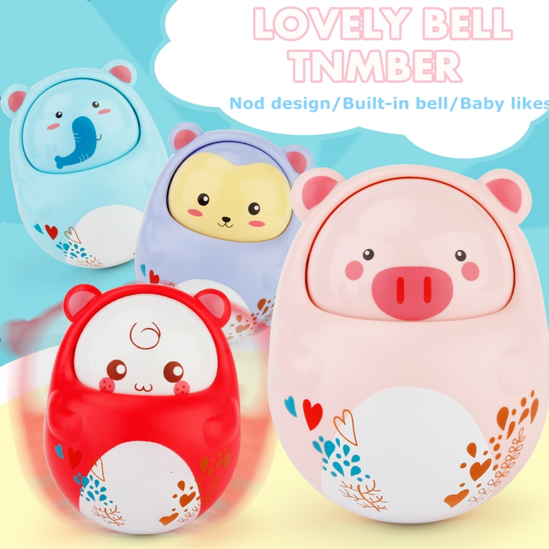 4 Color Cute Animal Baby Toys Nodding Moving Eyes Baby Kids Rattles Gifts Baby Roly Poly Tumbler Toy With Bell Toys For Children