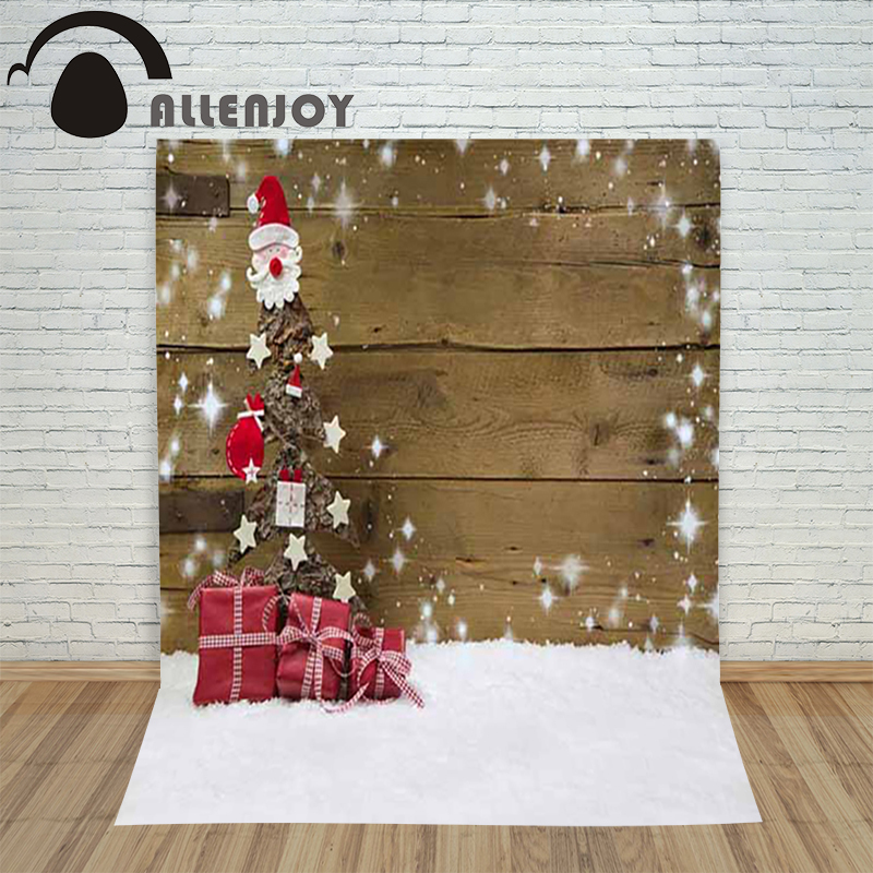 Allenjoy photography Background Christmas wooden Snowboard Santa Claus gift backdrops photo shoots studio camera new year allenjoy photography backdrops santa claus snow winter kids vinyl digital printing photo props profession christmas backgrounds