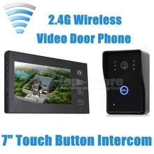 DIYSECUR Inalámbrico de 7 Pulgadas Video de La Puerta de Intercomunicación Teléfono Timbre Seguridad Para El Hogar Cámara Del Monitor Táctil SY806MJW11