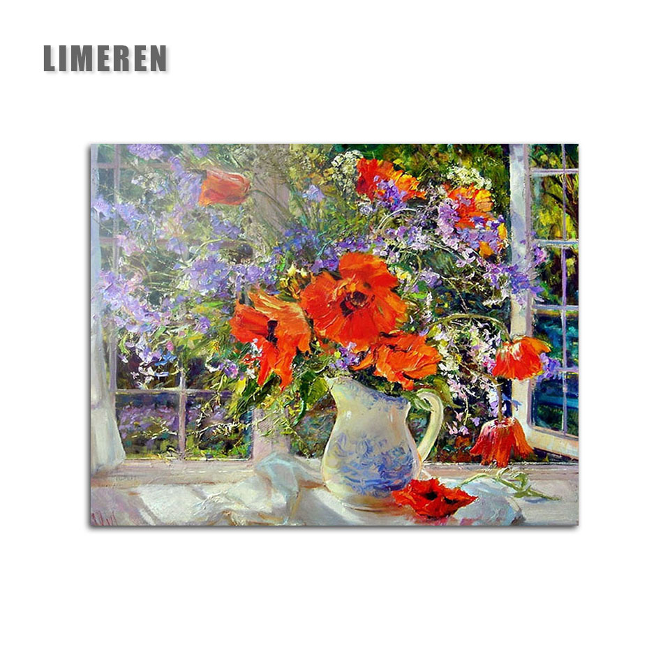 Frameless Canvas Art Oil Painting Flower Painting Design: Frameless Flowers Windows Diy Oil Painting By Numbers On