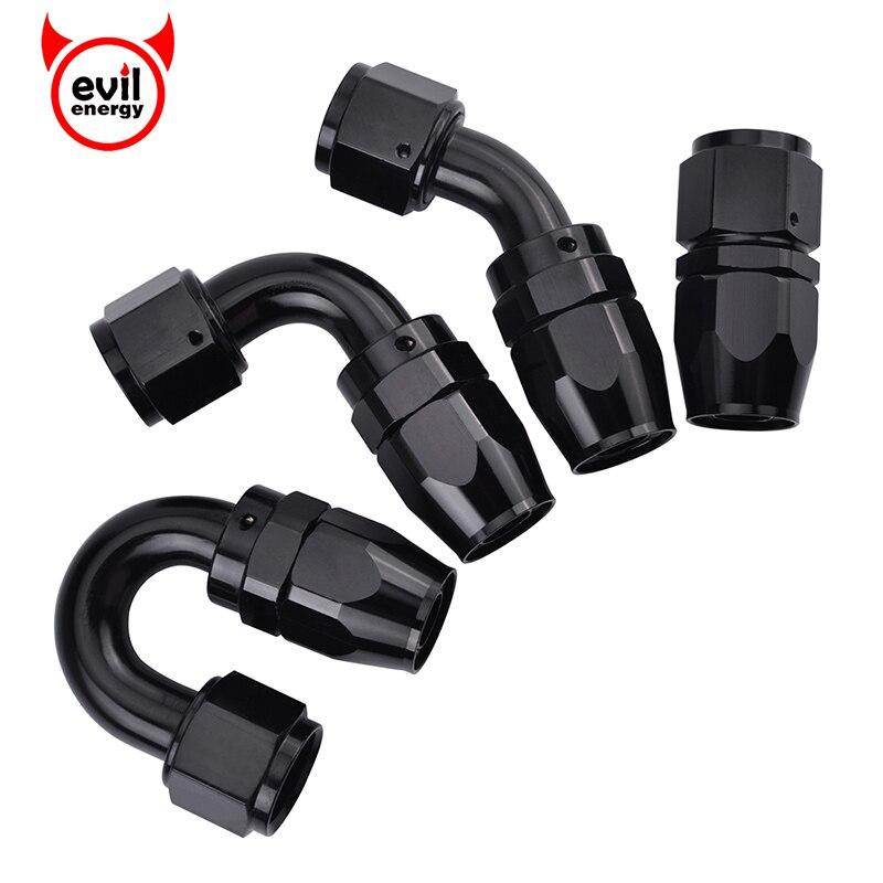 evil energy AN6 Straight 45 90 180 Degree Oil Fuel Swivel Hose End Fitting Oil Hose End Adaptor Kit Black