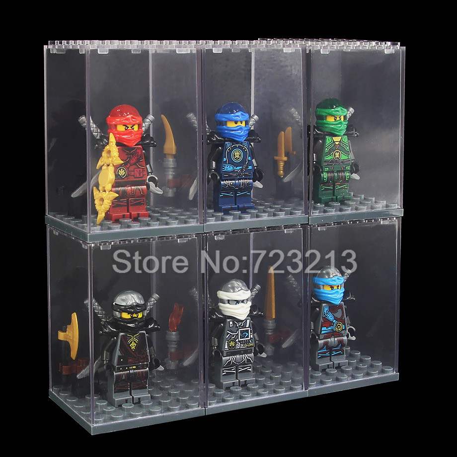 6pcs Ninja Figure Set With Display Box Kai Jay Zane Nya Lloyd Building Blocks Model Kits Bricks Toy for children loz diamond blocks assembly display case plastic large display box table for figures nano pixels micro blocks bricks toy 9940