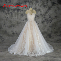 Vestido De Noiva New Special Lace Design Wedding Dress Champagne And Ivory Wedding Gown Custom Made