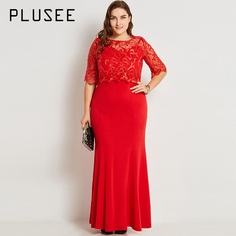 Plusee Women Plus Size 4XL 5XL Autumn Red Lace Dress O-Neck Mermaid Sheath Zipper Single Half Sleeve Plus Size Women Dress