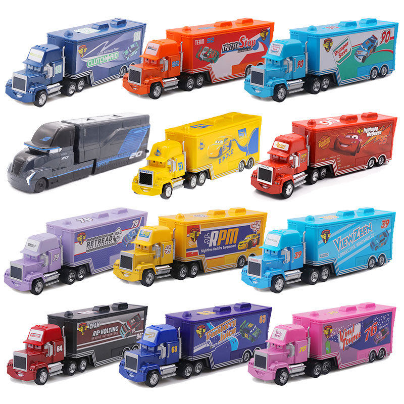 Disney Pixar Cars 2 3 Lightning McQueen Mack Uncle Truck Jackson Storm Cruz 1:55 Diecast Metal Alloy Car Model Children Toy disney pixar cars 3 new lightning mcqueen jackson storm cruz ramirez diecast alloy car model children s day gift toy for kid boy