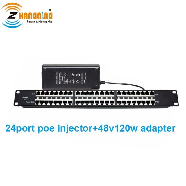 Panel de conexión POE de 24 puertos 1U de montaje en Rack con fuente de alimentación de 48 voltios de 120 vatios para 802.3af/ en el dispositivo