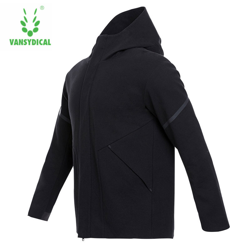Vansydical Mens Winter Jacket Sports Running Jackets Hooded Windbreaker Zipper Thermal Fitness Windproof Coat Sportswear Jackets viishow winter casual parkas mens slim fitness overcoat jackets black zipper hip hop style jacket coat for men clothing mcz0364