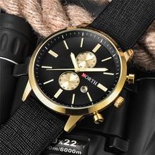 NORTH Mens Watches Top Brand Luxury Quartz Gold Watch Men Leather Analog Date Casual Military Sport Wrist  Rolex_watch