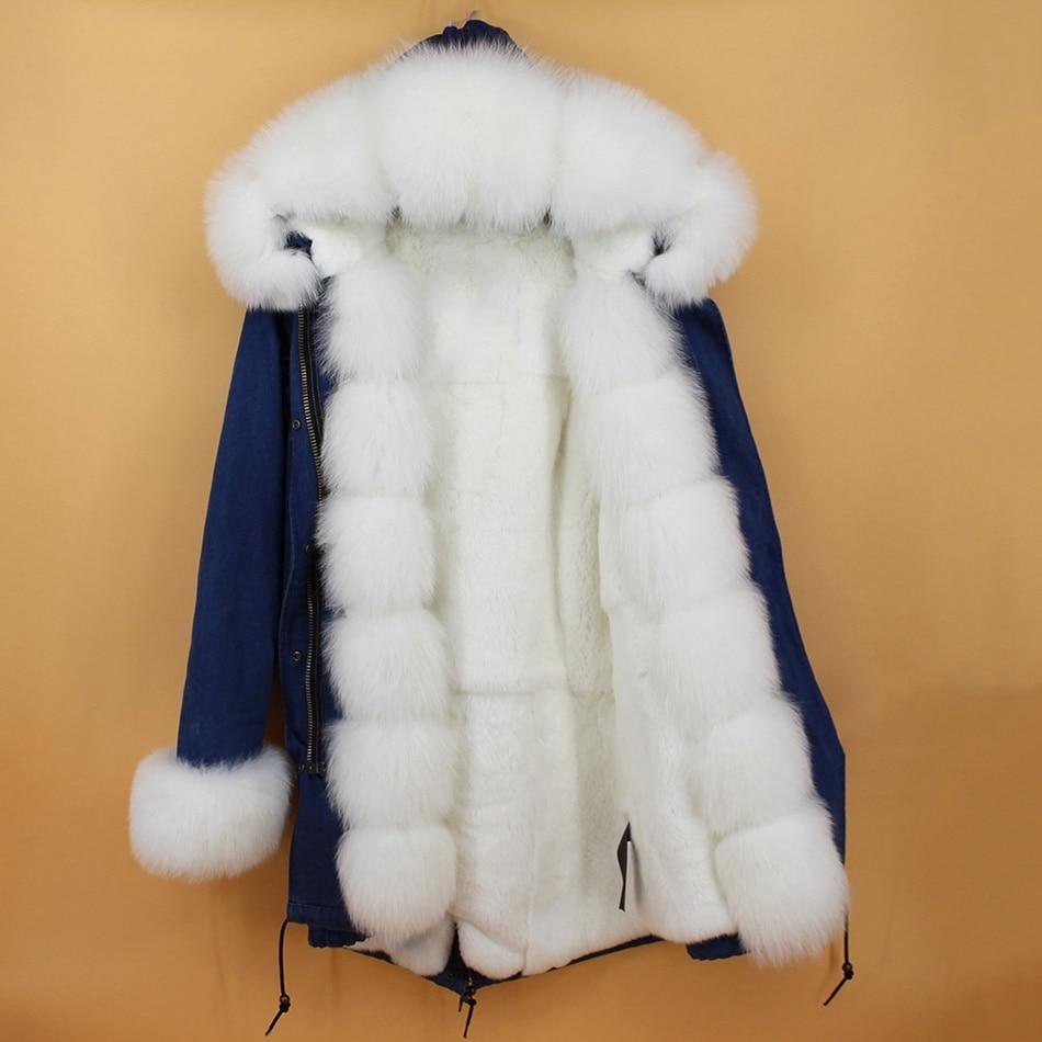 women demin fur parka natural fox fur hoody  (4)