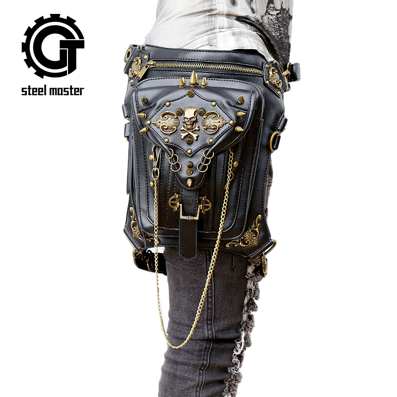 Gothic Fanny Pack For Women Men Waist Bags Unisex Messenger Bag Retro Leather Shoulder Bags Rivet Travel Crossbody Punk Pochetes free shipping 2017 new designers women leather bags handicraft rivet jacket punk style messenger bags shoulder crossbody bag go