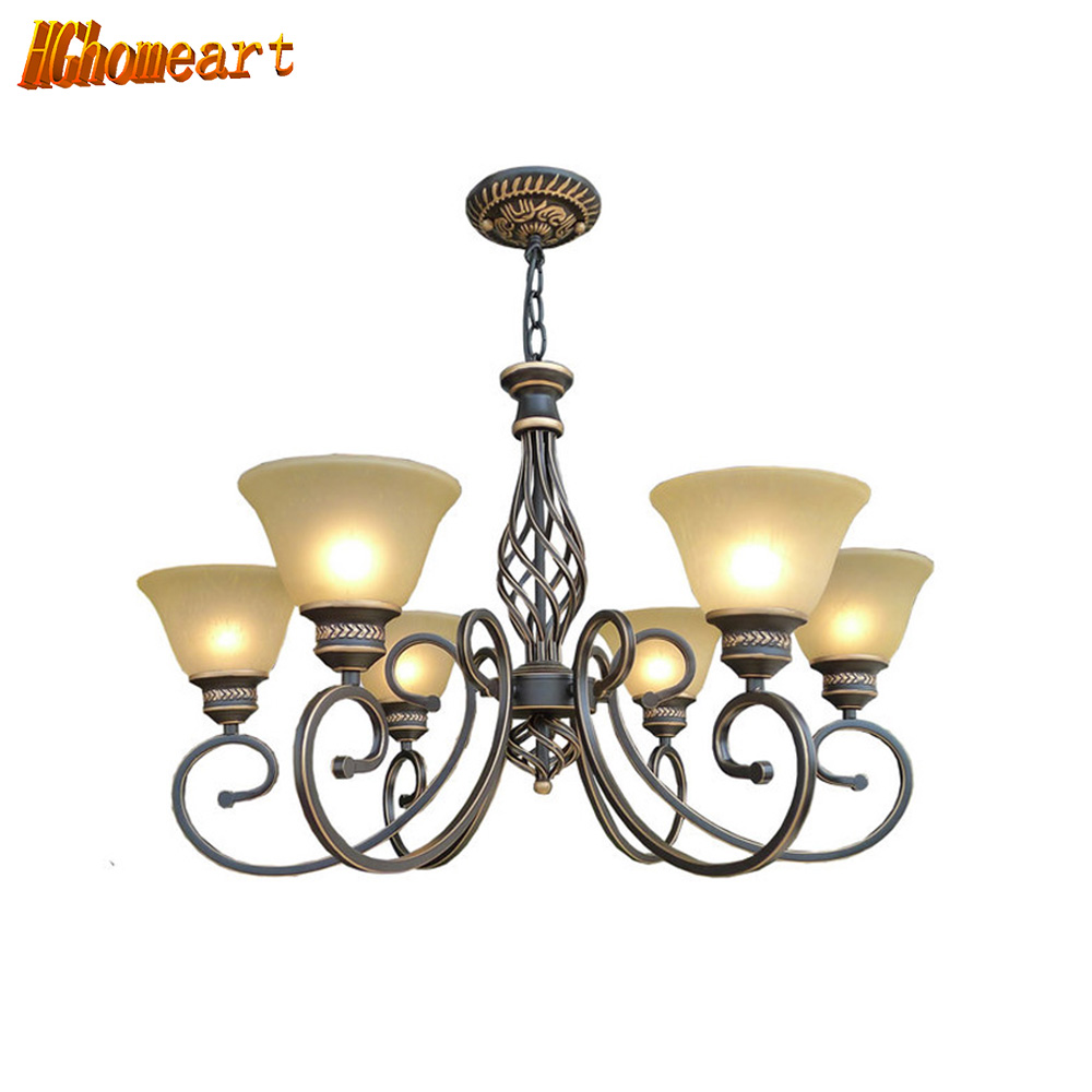 Country Style Antique Iron Chandelier E27 LED Bulb 110V/220v Vintage Lamp Home Lighting Modern Dining Room Chandeliers led lamp creative lights fabric lampshade painting chandelier iron vintage chandeliers american style indoor lighting fixture