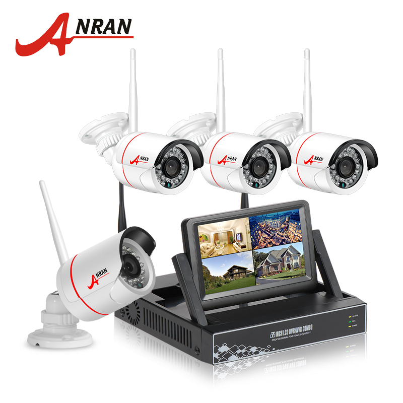 Anran New Listing Plug And Play Wireless Security System 4ch 7 LCD Nvr Kit 1tb Hdd 720p Hd Outdoor