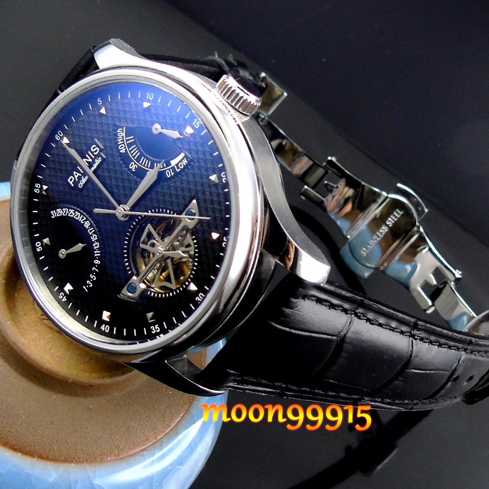 Parnis Luxury Black dial Power Reserve Chronometer 43mm mens Watch цена