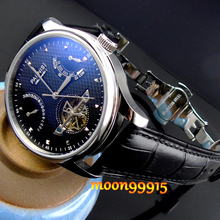 Parnis Luxury Black dial Power Reserve Chronometer 43mm mens font b Watch b font