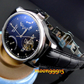 Parnis Preto discar Power Reserve Chronometer 43mm mens Relógio de Luxo