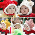 Kids Infants Winter Crochet Knit Balls Handmade Earflap Hat Beanie Beret