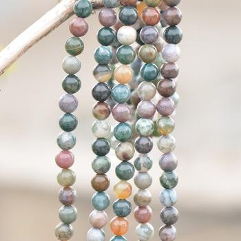 Comercio al por mayor de Alta calidad Natural de cristal Redonda Natural Indio Agata e Perlas para La Joyería de Diy Que Hace Los Resultados