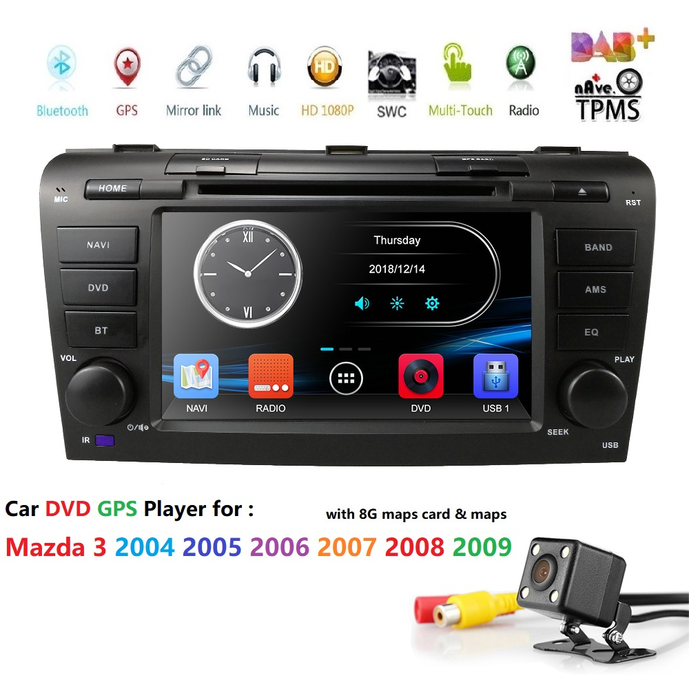 two din 7 Inch Car DVD radio stereo Player For <font><b>Mazda</b></font> <font><b>3</b></font> 2004-2009 BT <font><b>GPS</b></font> DAB SD DVR Mirror link Free rear camera + 8 G <font><b>map</b></font> card image