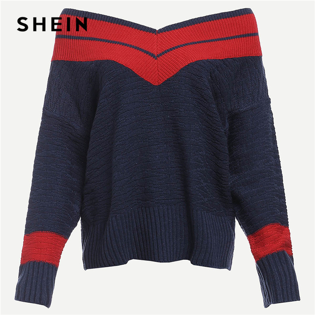 adac758a9c SHEIN Navy Preppy Highstreet Two Tone Chevron Pattern Colorblock Jumper  2018 Autumn Campus Women Pullovers Sweaters