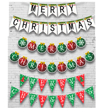 Merry Christmas Flags Banner Party Decoration Kids Paper Bunting Banners Deco New Year Supplies