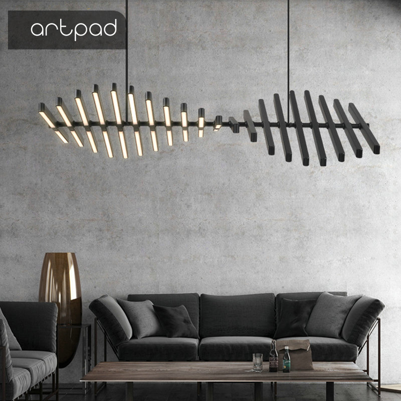 White Black 3 Color Stepless Dimming 65W Modern Led Chandelier Art Decor Living Room Dining Room
