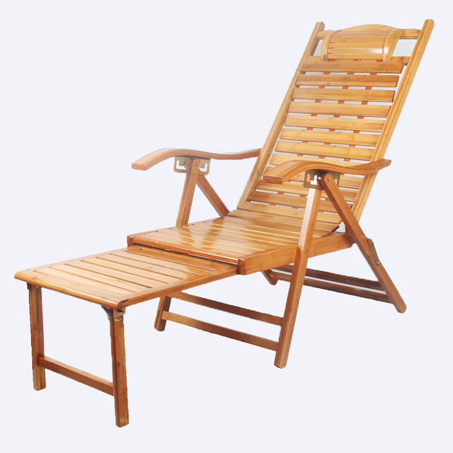 Patio Chaise Lounge Chair Outdoor Beach Reclining Garden Yard Adjule Recliner Bamboo Furniture Folding Sun Lounger Daybed