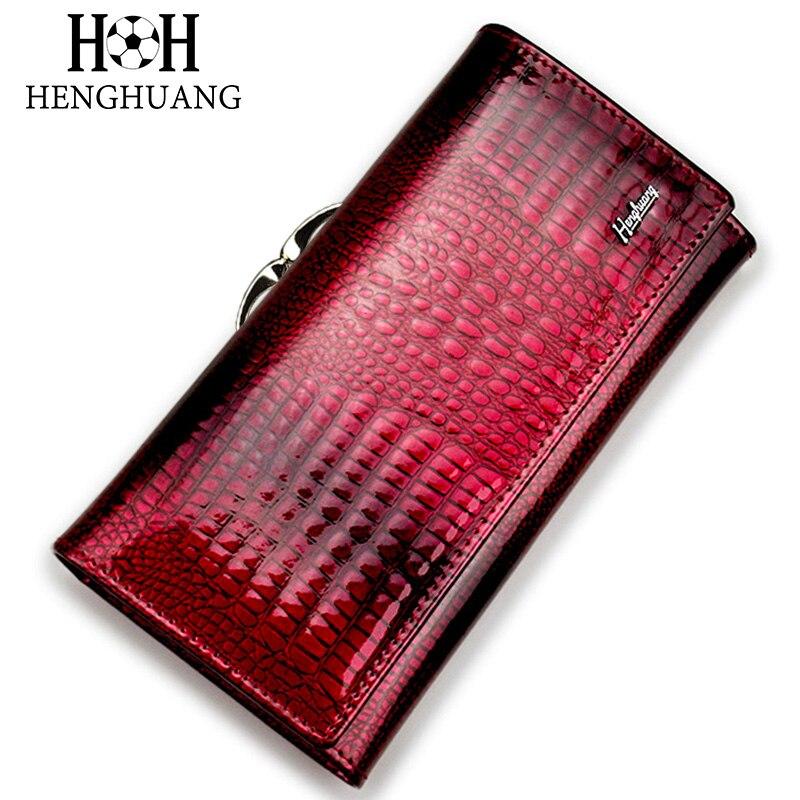 HH Alligator Frauen Kupplung Brieftaschen Luxus Patent Krokodil Echtem Leder Damen Kupplung Geldbörse Haspe Lange Multifunktionale Brieftasche