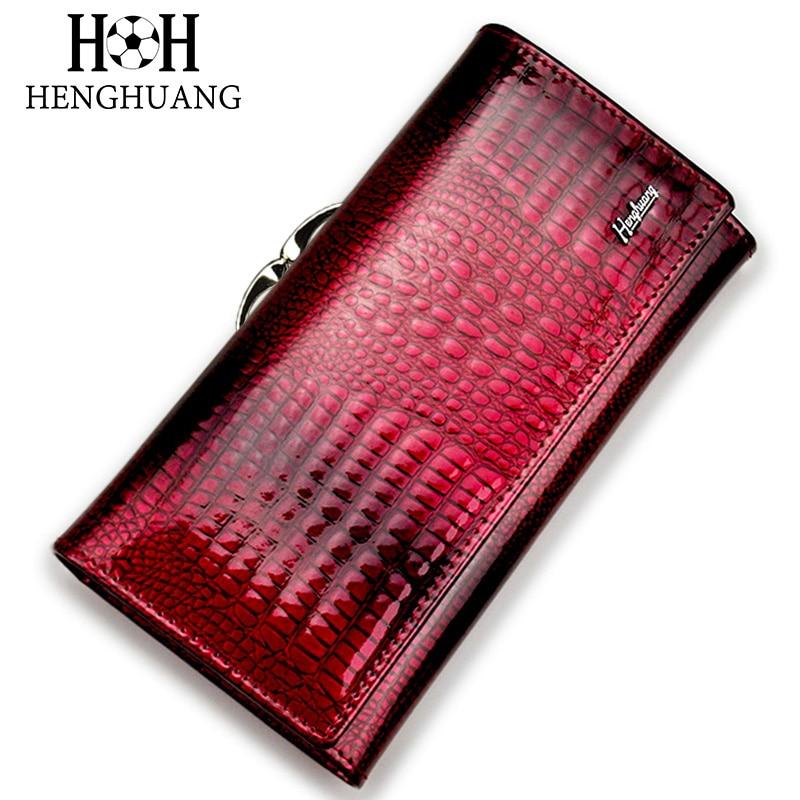 HH אליגטור נשים קלאץ 'ארנקים מותרות הפטנט תנין עור אמיתי גבירותיי ארנק הארנק הארנק ארוך רב תכליתי