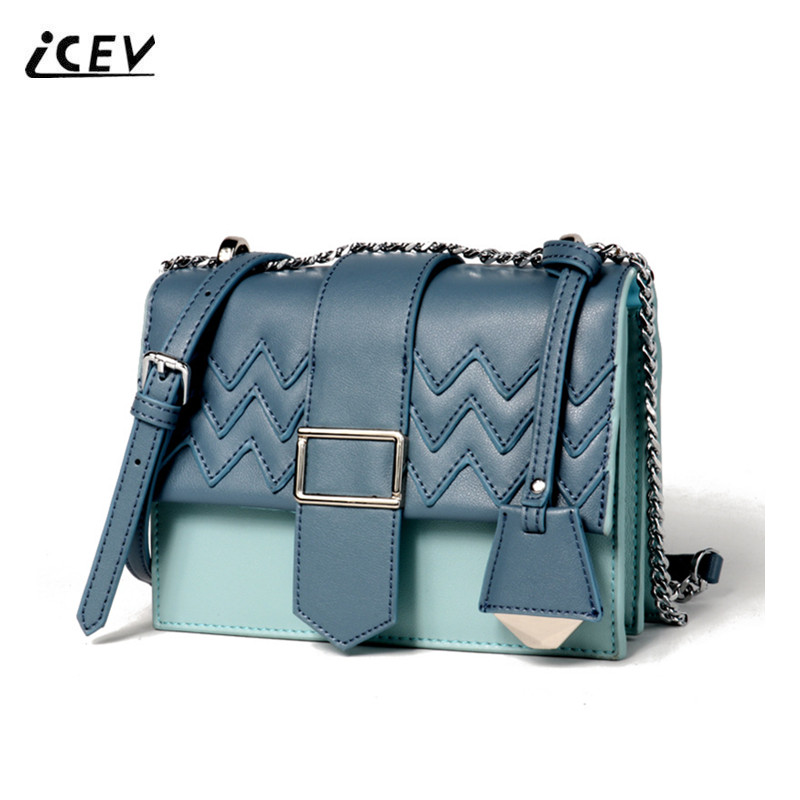 ICEV New European Fashion Threads High Quality Chains Genuine Leather Bags Handbags Women Famous Brands Women Messenger Bags Sac icev new korean fashion high quality simple genuine leather saddle crossbody bags for women messenger bags cow leather handbags