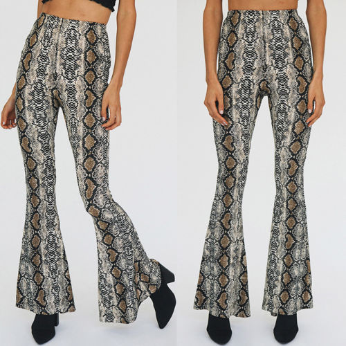 Women Ladies Print Casual   Pants     Capris   Clothing Women's Summer Snake Skin Python Printed High Waist Stretchy Bell Bottoms   Pant