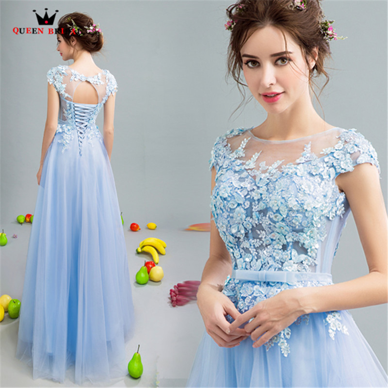 QUEEN BRIDAL   Evening     Dresses   A-line Tulle Lace Flowers Elegant Blue Long Party   Dress     Evening   Gown 2018 Vestido De Festa JW16