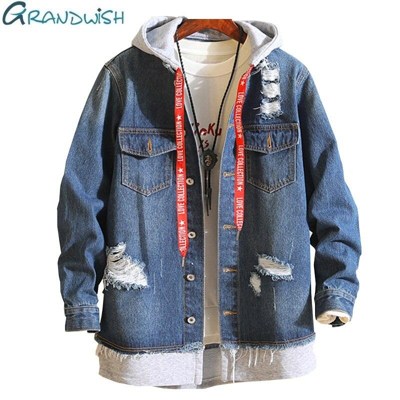 Grandwish Denim Jeans Jacket Men Hooded 2018 New Fashion Mens Jeans Jacket Spring Autumn Vintage Frayed Jeans Jackets Male,DA600