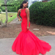 Doragrace Glamorous Beaded Mermaid Evening Dresses Red Prom Gowns