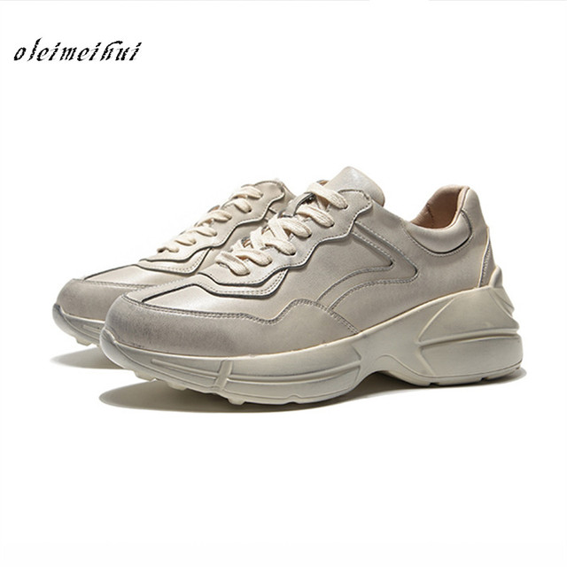 New Woman Genuine leather Gray Sneakers Casual Shoes Round Toe Worn Out Distressed Leather Lace Up Vintage Do Old Dirty  Female