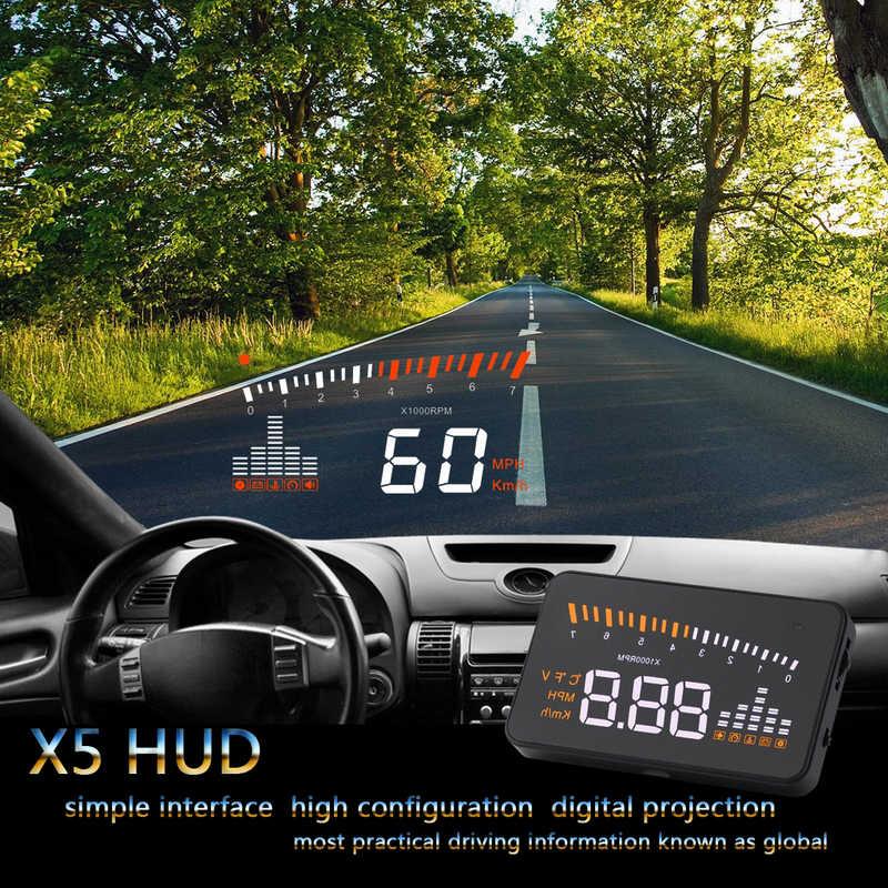 جديد وصول X5 هود رئيس متابعة العرض سيارة التصميم سرعة إنذار OBD II OBD2 مركزا سيارة الزجاج الأمامي العارض اكسسوارات السيارات